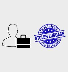 Contour user case icon and grunge stolen vector