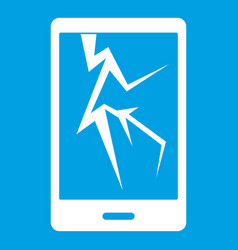 Cracked phone icon white vector