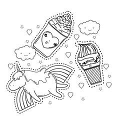 cute unicorn with set kawaii icons vector image