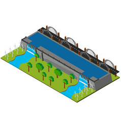 Dam and road in 3d design vector