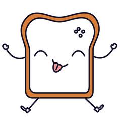 Delicious toast bread kawaii character vector