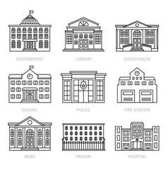 Education and government thin line buildings vector