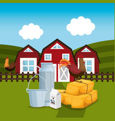 Farmhouse in the farm scene vector