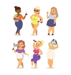 Fat girl set vector