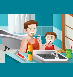 father teaching his son how to brush his teeth vector image
