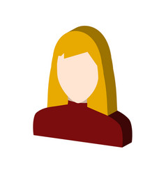 Female avatar symbol flat isometric icon or logo vector