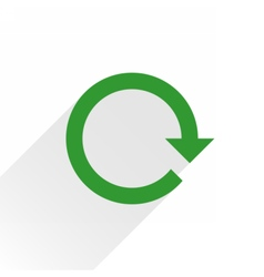 Flat green arrow icon reset sign on white vector