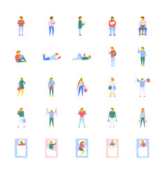Flat icons collection of people vector