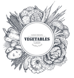 Frame with hand drawn farm vegetables in vector