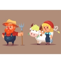 Funny cartoon farmer characters man woman cow vector image