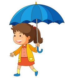 Girl holding blue umbrella vector