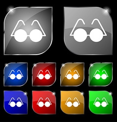 Glasses icon sign Set of ten colorful buttons with vector