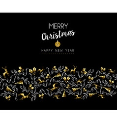 Gold Christmas and new year deer holiday pattern vector