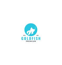 Golden fish silhouette in circle for aquarium vector