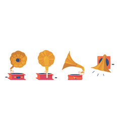 gramophone player front back side and top view vector image