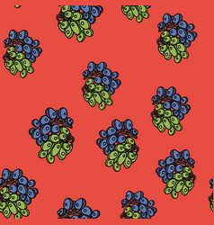 grape seamless pattern on red background vector image