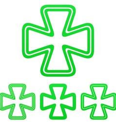 Green line luck logo design set vector