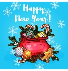 Greeting card with holiday gifts in bag vector image