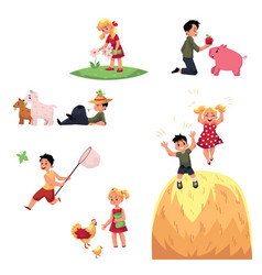Happy children spend summer vacation in farm vector