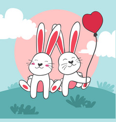 happy valentines day couple bunny with balloon vector image