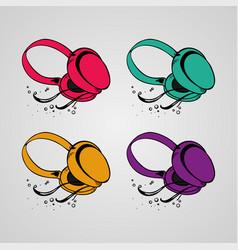 Headphone silhouettes set vector