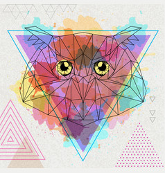Hipster polygonal bird owl on artistic watercolor vector