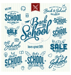 huge set Back to school typographic sins vector image