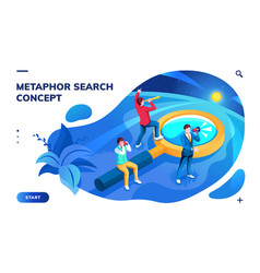 Isometric page for search concept or metaphor vector