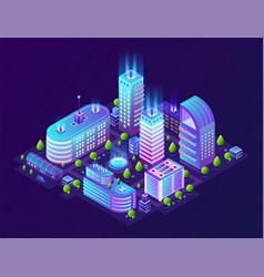 Isometric smart city futuristic 3d buildings vector