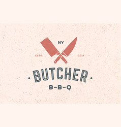 Label of butchery meat shop vector