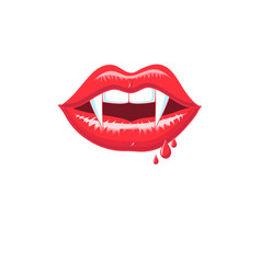 lovely red shiny vampire lips vector image