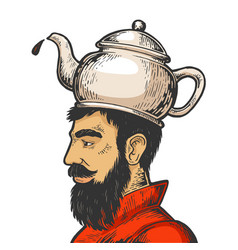 man with kettle teapot hat color sketch vector image