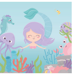 mermaid octopus crab seahorse reef coral cartoon vector image