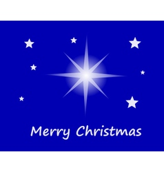 Merry christmas with stars in sky vector