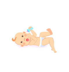 newborn bafour or five months lying on back vector image