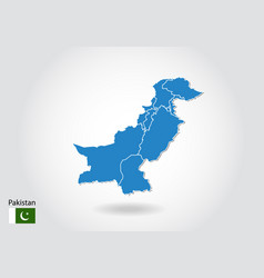 Pakistan map design with 3d style blue pakistan vector