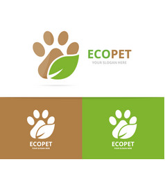 paw and leaf logo combination pet and eco vector image