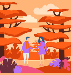 people in forest flat outing vector image