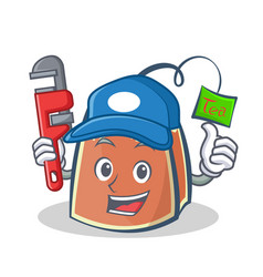 plumber tea bag character cartoon vector image
