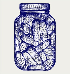 Preserved cucumbers in a jar vector