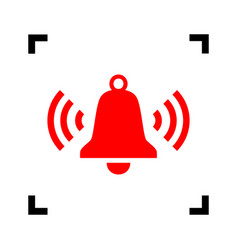 ringing bell icon red icon inside black vector image