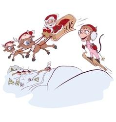 Santa Claus and reindeer met monkey symbol 2016 vector image