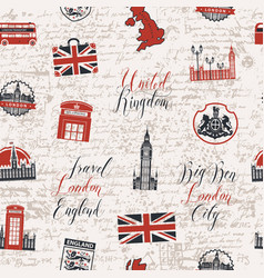 Seamless background on theme of uk and london vector