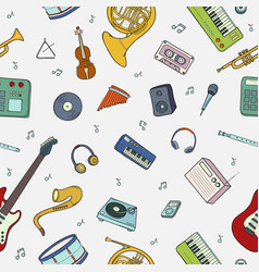 Seamless pattern with various musical instruments vector