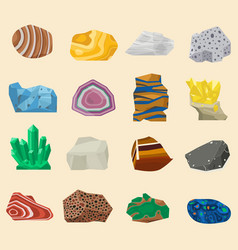 Semi precious mineral stones and gemstones vector