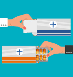 set hands with medical ointments treatment vector image