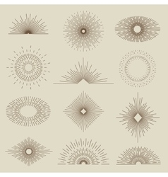 set vintage sunbursts in different shapes vector image