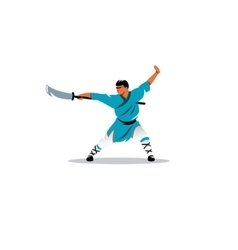 Shaolin monk with a sword sign vector