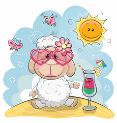 Sheep on the beach vector