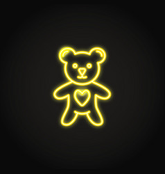 shining neon toy bear with heart icon vector image